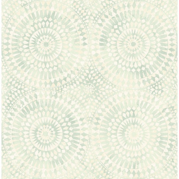 Glisten Circles Wallpaper in Soft Pearlescent Blue by Seabrook Wallcoverings