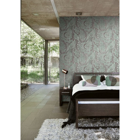 Glisten Wallpaper in Silver and Teal by Seabrook Wallcoverings