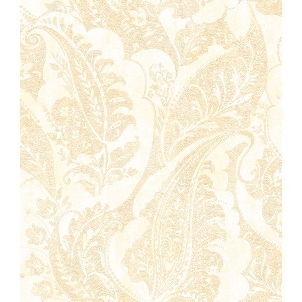 Glisten Wallpaper in Ivory and Taupe by Seabrook Wallcoverings