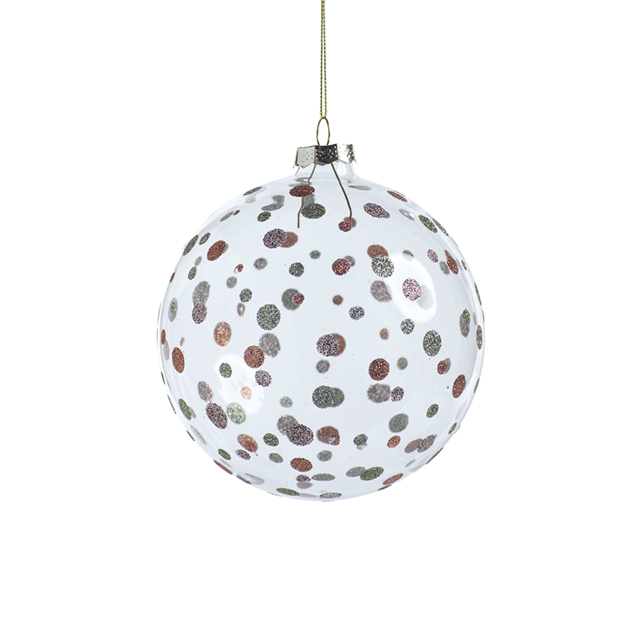Glittered Polka Dot Holiday Ball Ornament