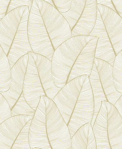 Sample Gold Fine Line Leaves Wallpaper by Walls Republic