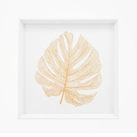 Gold Monstera Leaf Framed Canvas Print