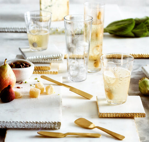 Gold & Silver-Edged Marble Serving Boards by Roost