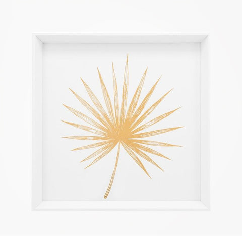 Gold Spike Palm Leaf Framed Canvas Print