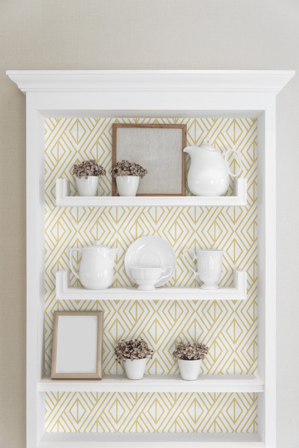 Gold Geo Peel And Stick Wallpaper In Gold And White By Nextwall Burke Decor