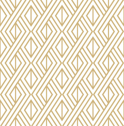 Gold Geo Peel-and-Stick Wallpaper in Gold and White by NextWall