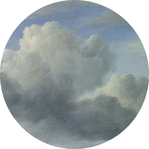 Golden Age Clouds Grey Wallpaper Circle by KEK Amsterdam