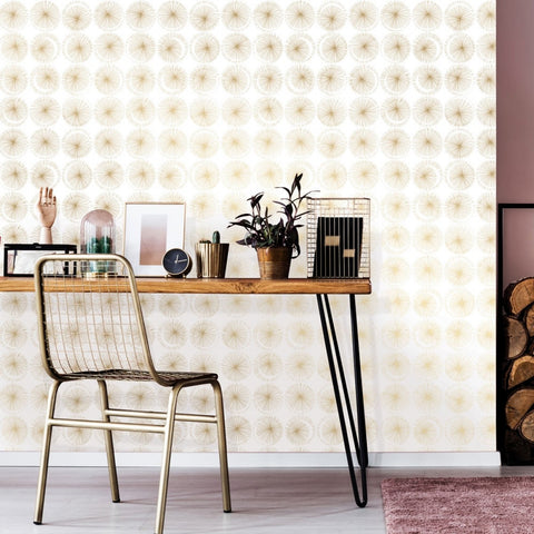 Goodbye Moon Self-Adhesive Wallpaper in Metallic Gold design by Tempaper