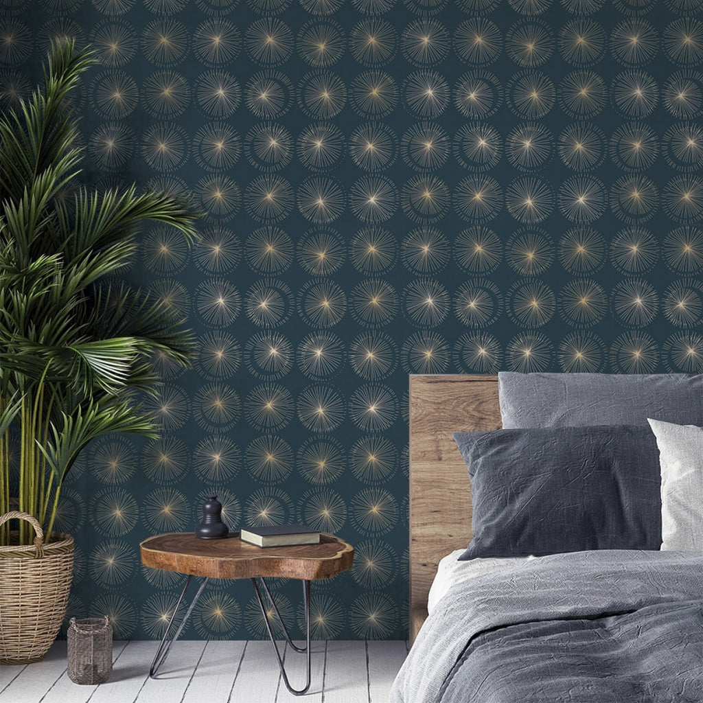 Goodbye Moon Self-Adhesive Wallpaper in Midnight design by Tempaper
