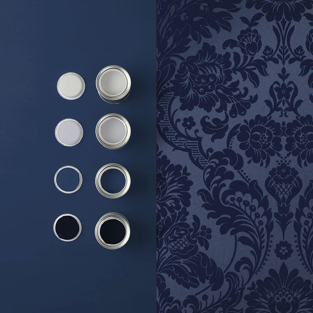 Gothic Damask Flock Wallpaper in Cobalt from the Exclusives Collection by Graham & Brown