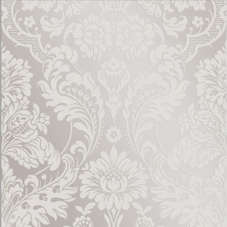 Gothic Damask Flock Wallpaper in White from the Exclusives Collection by Graham & Brown