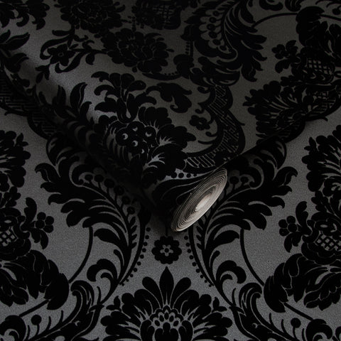 Gothic Damask Wallpaper in Noir from the Exclusives Collection by Graham & Brown
