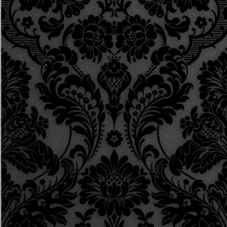 Gothic Damask Flock Wallpaper In Noir From The Exclusives Collection B Burke Decor