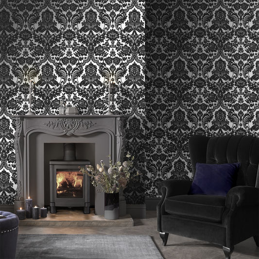 Gothic Damask Flock Wallpaper in Black and Silver from the Exclusives Collection by Graham & Brown