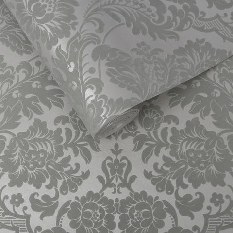Gothic Damask Flock Wallpaper in Grey and Silver from the Exclusives Collection by Graham & Brown