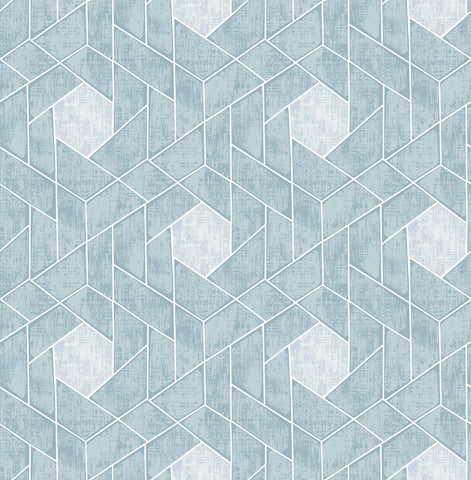Granada Geometric Wallpaper in Aqua from the Scott Living Collection by Brewster Home Fashions