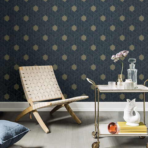 Granada Geometric Wallpaper in Charcoal from the Scott Living Collection by Brewster Home Fashions