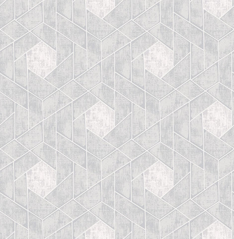 Granada Geometric Wallpaper in Light Grey from the Scott Living Collection by Brewster Home Fashions