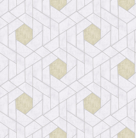 Granada Geometric Wallpaper in Silver from the Scott Living Collection by Brewster Home Fashions