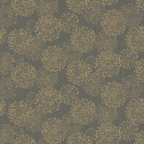 Grandeur Wallpaper in Gold from the Botanical Dreams Collection by Candice Olson for York Wallcoverings