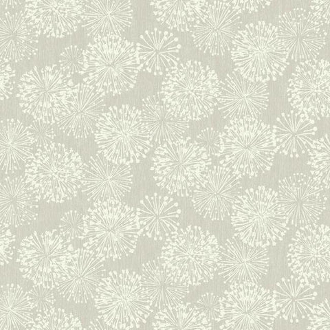 Grandeur Wallpaper in Silver from the Botanical Dreams Collection by Candice Olson for York Wallcoverings