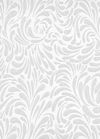 Graphic Floral Paintable Wallpaper in White design by BD Wall