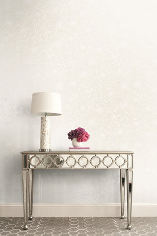 Graphic Floral Wallpaper in Metallic Pearl from the Casa Blanca II Collection by Seabrook Wallcoverings
