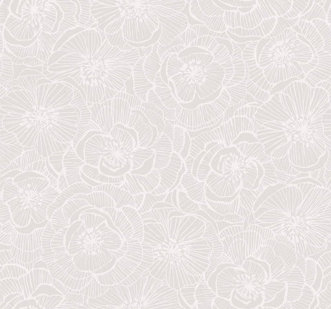 Graphic Floral Wallpaper in Metallic Champagne and Ivory from the Casa Blanca II Collection by Seabrook Wallcoverings