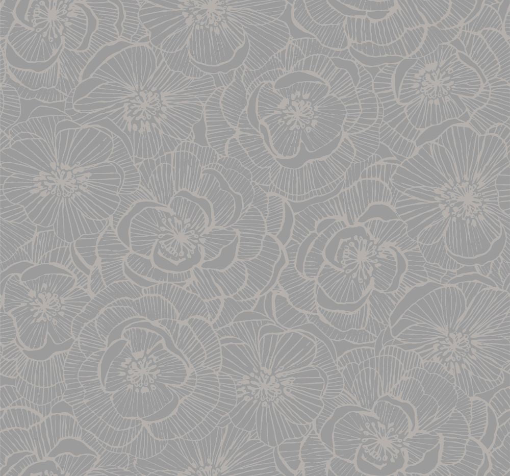 Graphic Floral Wallpaper In Metallic Silver From The Casa Blanca