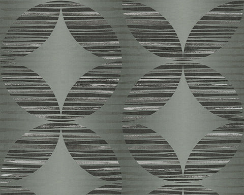 Graphic Shapes Wallpaper in Dark Grey and Metallic design by BD Wall