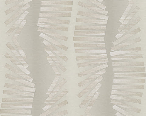 Graphic Stripes Wallpaper in Beige and Grey design by BD Wall