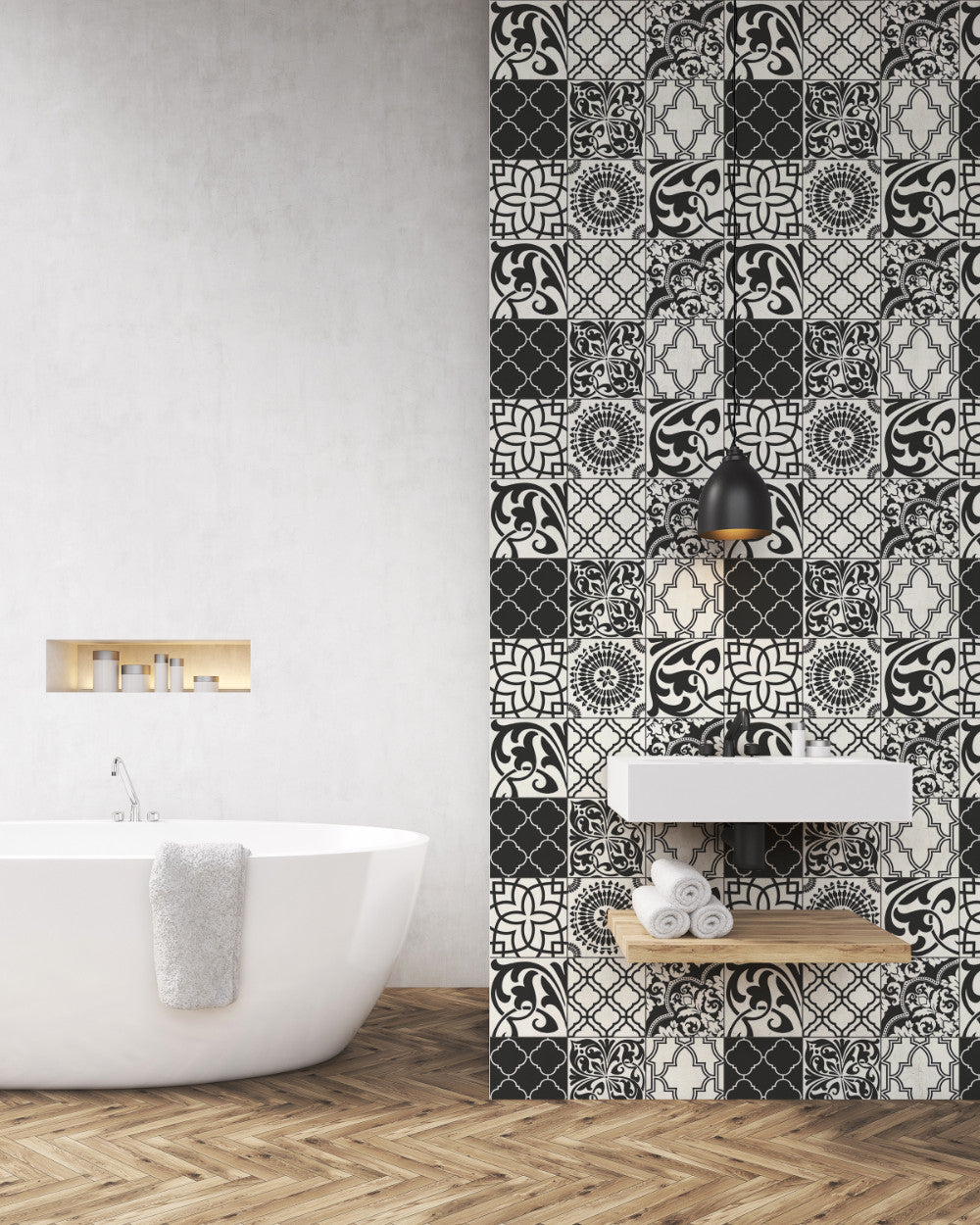 Graphic Tile Peel-and-Stick Wallpaper in Black and White by NextWall ...