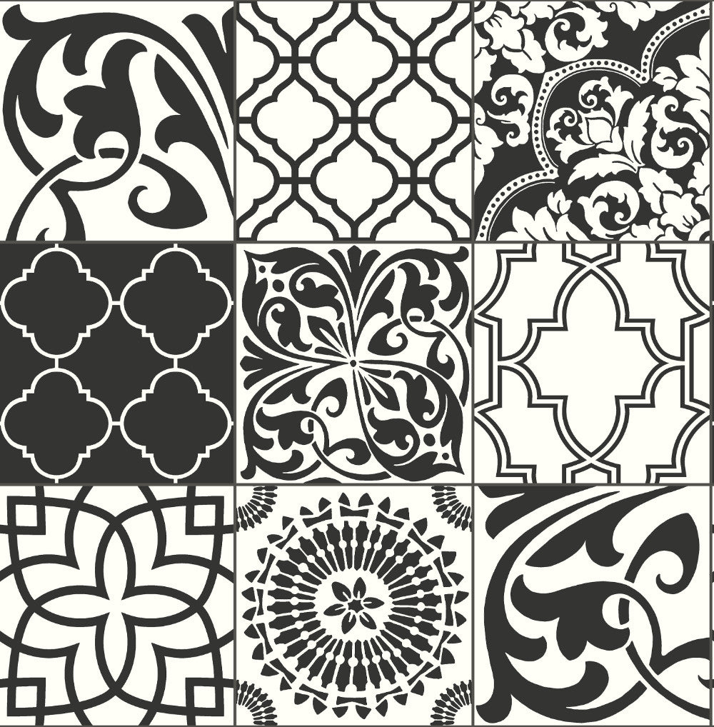 Graphic Tile Peel And Stick Wallpaper In Black And White By