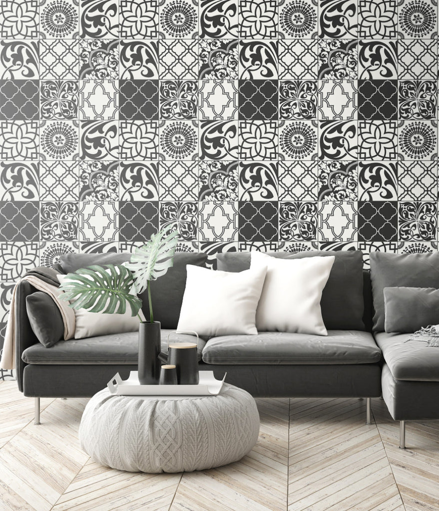 Graphic Tile Peel-and-Stick Wallpaper in Black and White by NextWall