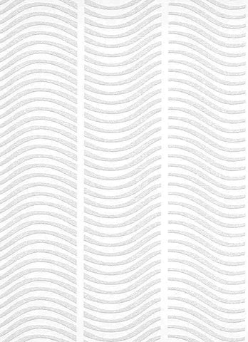 Graphic Waves Paintable Wallpaper in White design by BD Wall