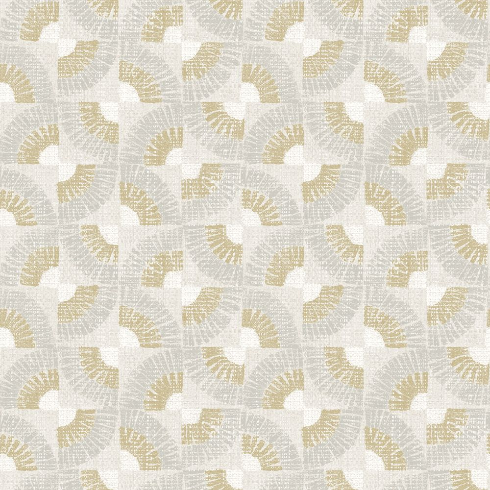 Sample Grasscloth Fans Self-Adhesive Wallpaper in Canary Gold by Tempaper