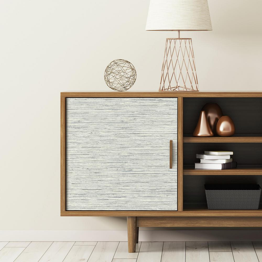 Grasscloth Wallpaper Peel And Stick: Grasscloth Peel & Stick Wallpaper In Blue By RoomMates For
