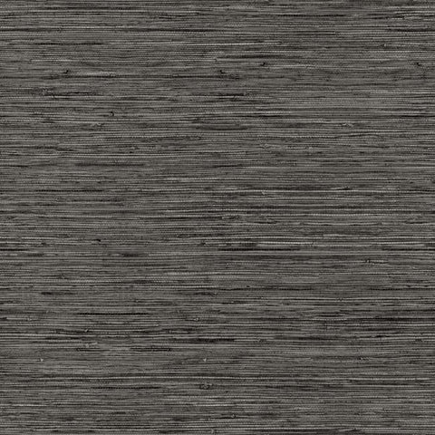 Grasscloth Peel & Stick Wallpaper in Dark Grey by RoomMates for York Wallcoverings