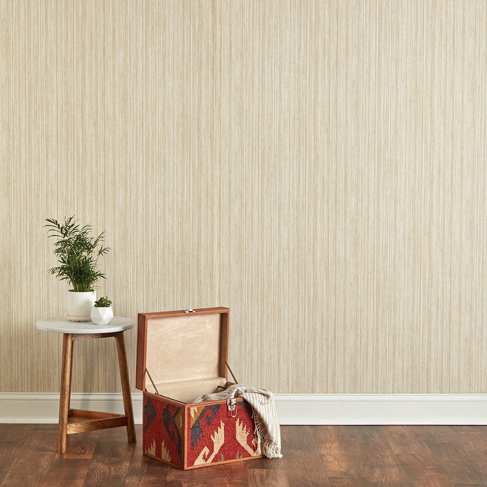 Grasscloth Self-Adhesive Wallpaper in Sand design by Tempaper