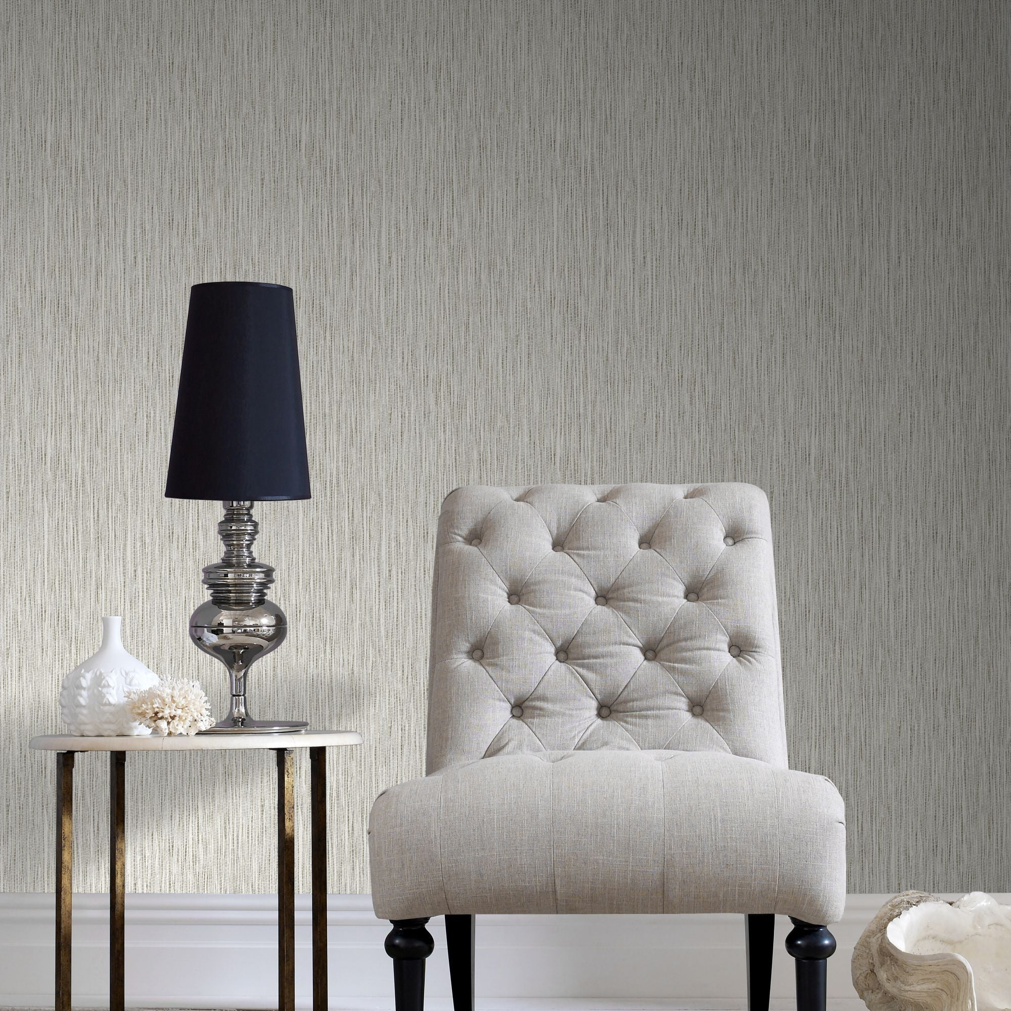 Grasscloth Wallpaper In Cream From The Surface Collection