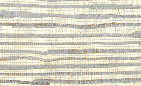 Grasscloth Wallpaper in Metallic and Ivory design by Seabrook Wallcoverings