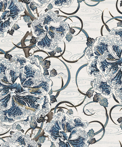 Great Wave Bloom Wallpaper (Two Rolls) from the Kingdom Home Collection by Milton & King