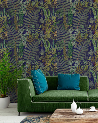 Green Sanctuary Wallpaper in Anthracite from the Florilegium Collection by Mind the Gap