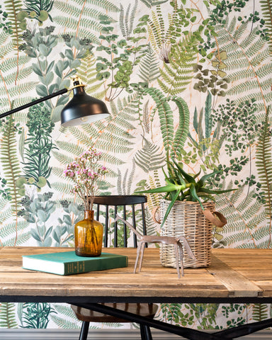Green Sanctuary Wallpaper in Taupe from the Florilegium Collection by Mind the Gap