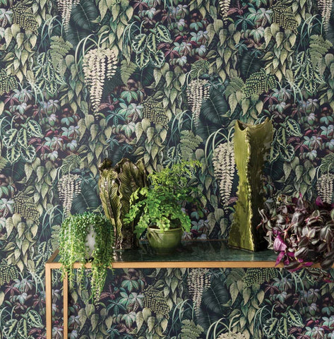 Green Wall Wallpaper in Emerald and Red from the Folium Collection by Osborne & Little