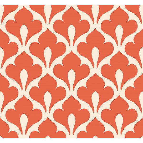 Grenada Wallpaper in Deep Orange from the Tortuga Collection by Seabrook Wallcoverings