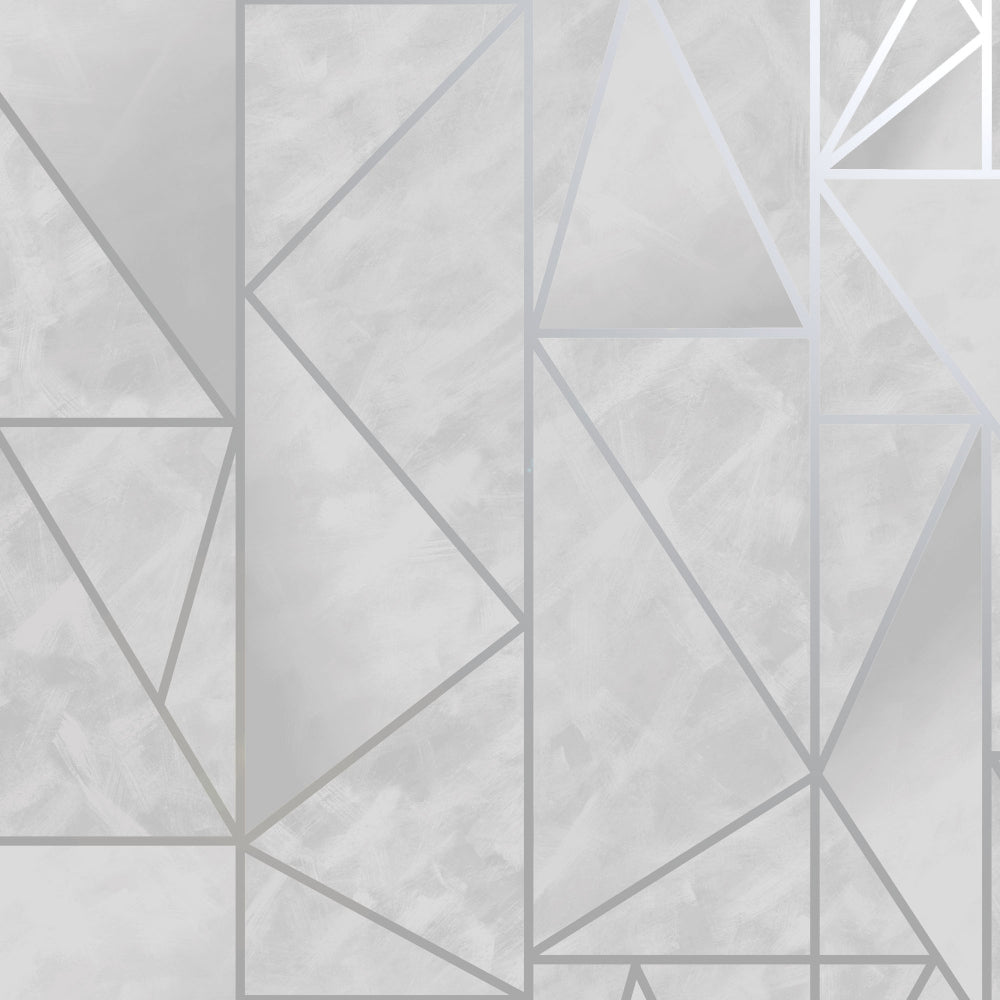 Sample Grey & Silver Bohemian Metallic Triangles Wallpaper by Walls Republic