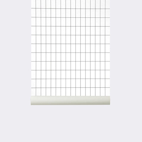 Sample Grid Wallpaper in Black/White design by Ferm Living