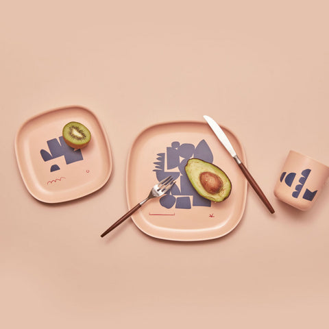 Gusto Bamboo Illustrated Medium Plate Set design by EKOBO