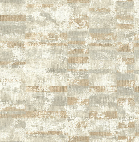 Gutenberg Wallpaper in Brown and Neutrals from the Metalworks Collection by Seabrook Wallcoverings